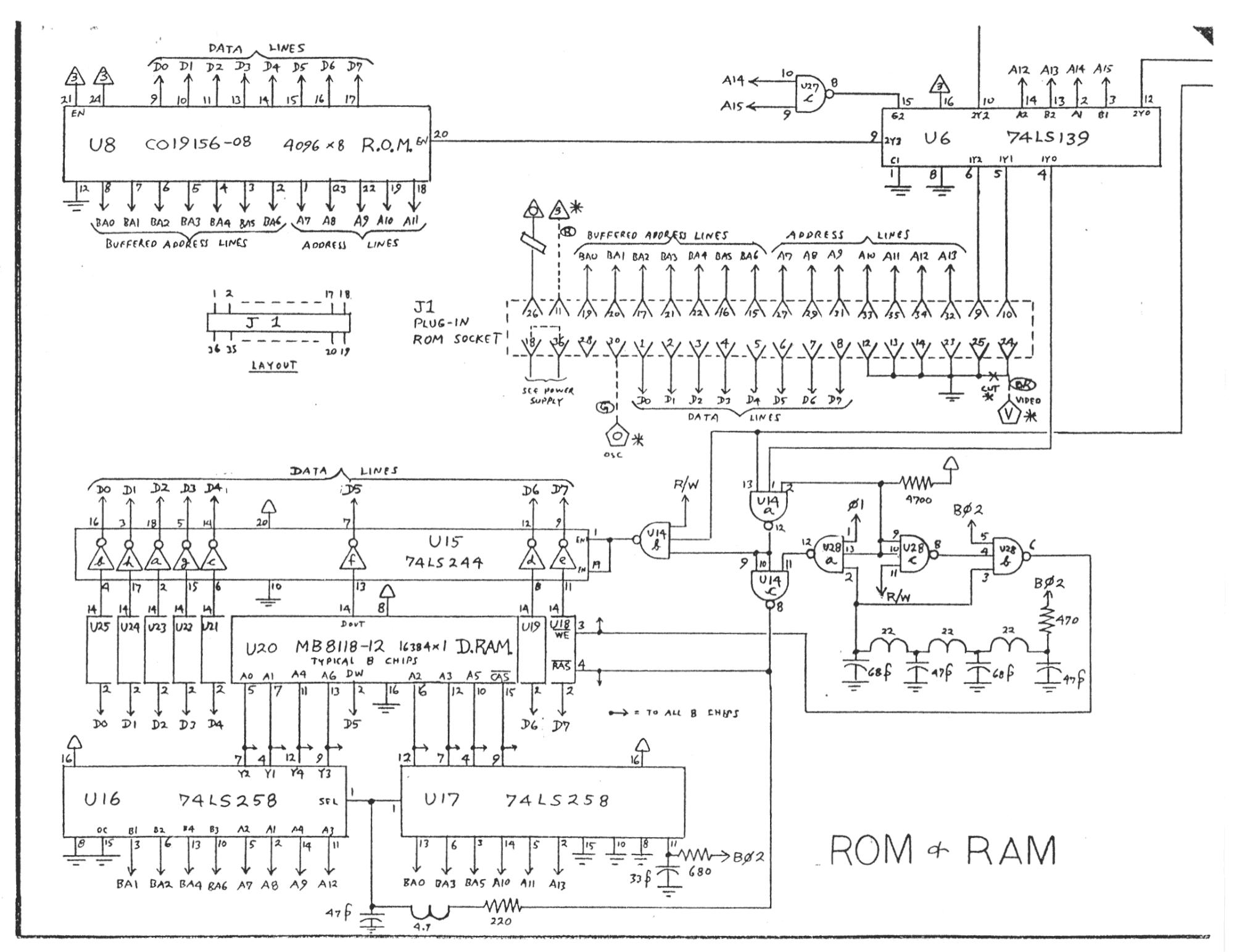 Atari 5200 ROM/RAM schematic